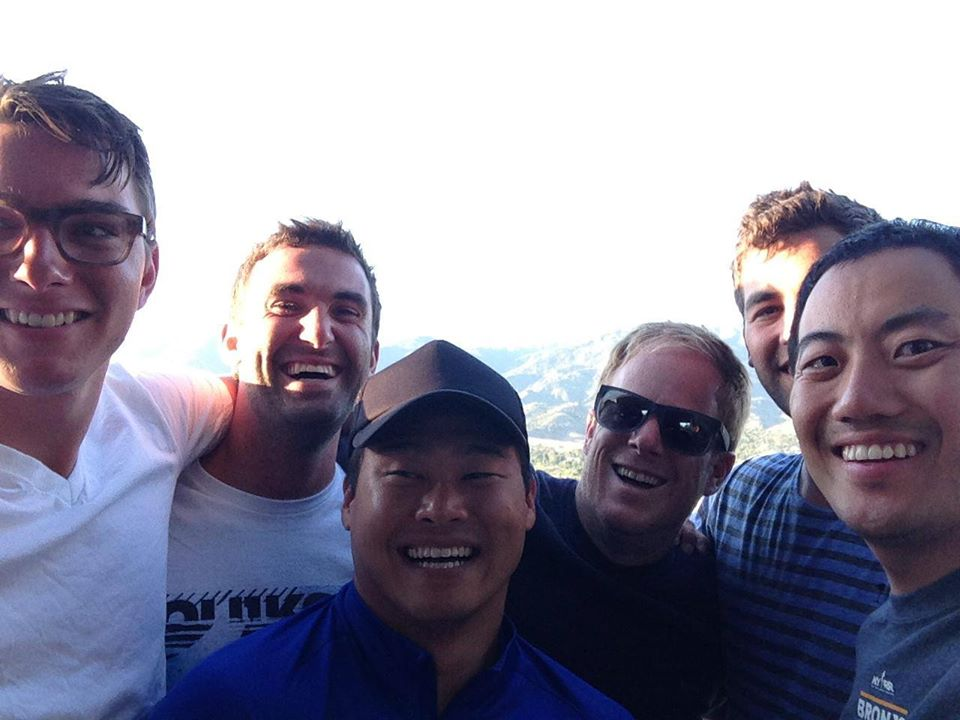 Men's group road trip stopping for a selfie