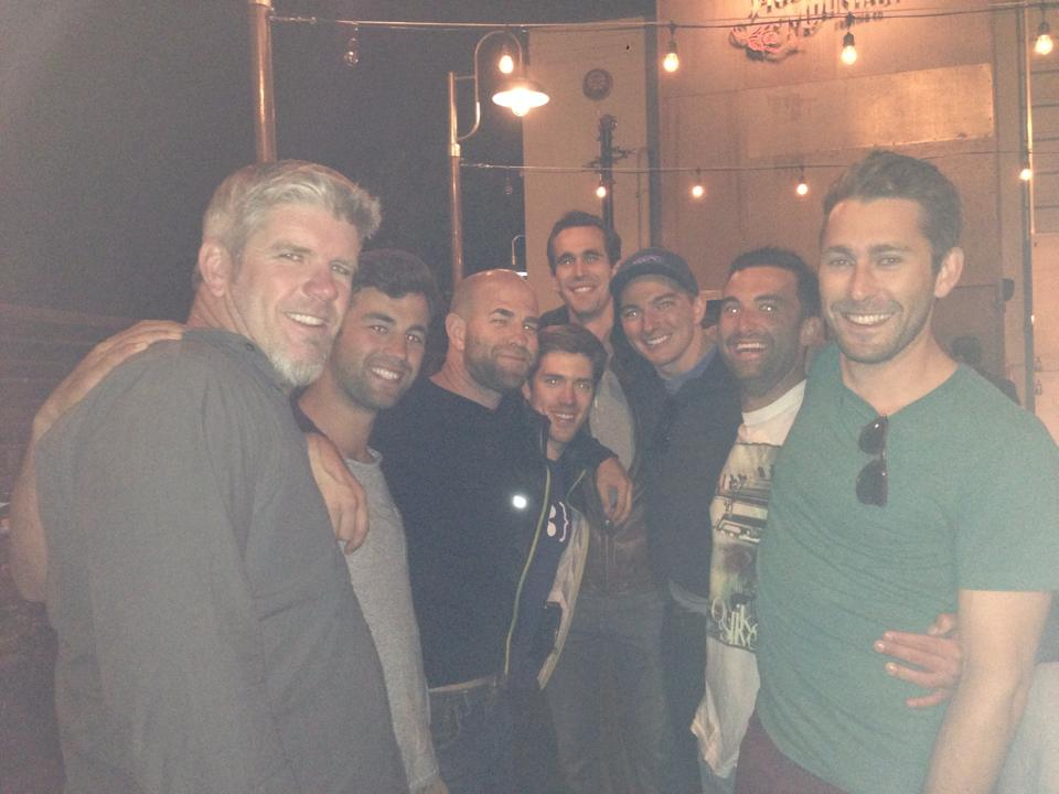 The guys out on the town after a men's circle