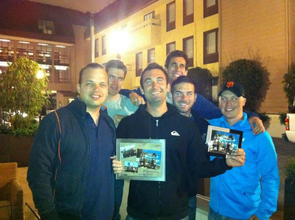 Guys saying thanks to Sean Galla for a men's group retreat