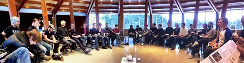 The first big men's circles I lead: 43 guys! We were on a ski trip.