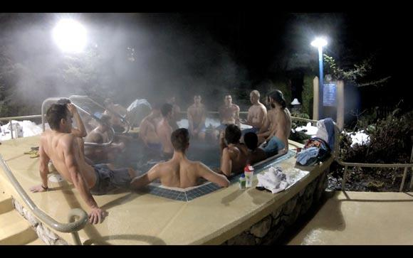 Men's group hot tub after a men's meeting